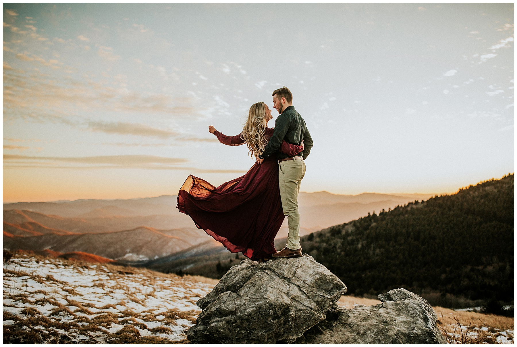 Couple on rock on roan mountain
